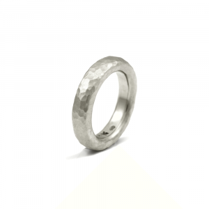 Narrow Beaten Silver Band by Scarab Jewellery Studio