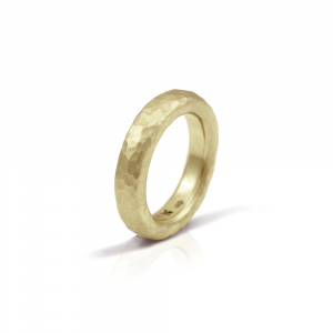 Narrow Beaten Gold Band by Scarab Jewellery Studio