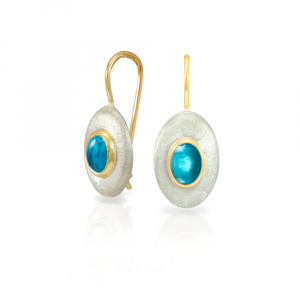 Surfboard earrings Swiss Blue Topaz in matte silver and yellow gold by Scarab Jewellery Studio