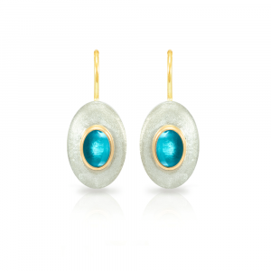 Surfboard earrings Swiss Blue Topaz in matte silver and yellow gold
