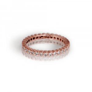 Red Gold Diamond Eternity Band by Scarab Jewellery Studio