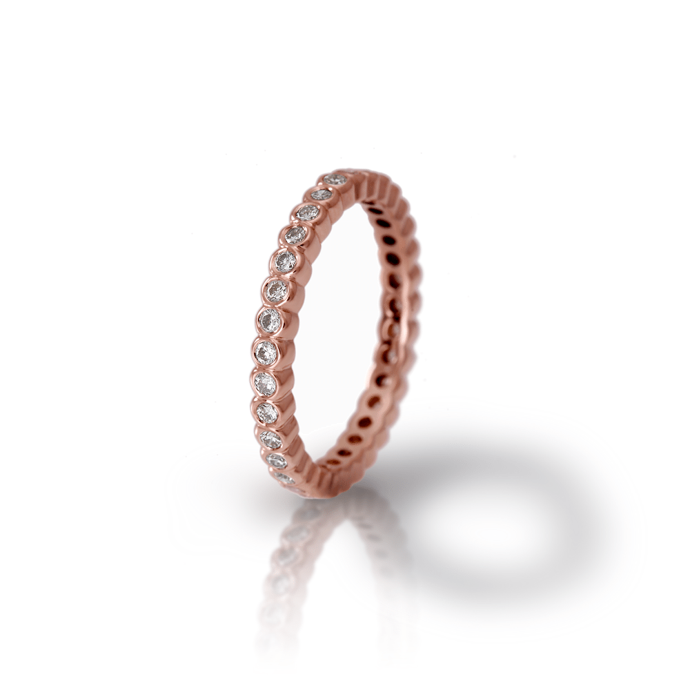 Red Gold Diamond Eternity Band