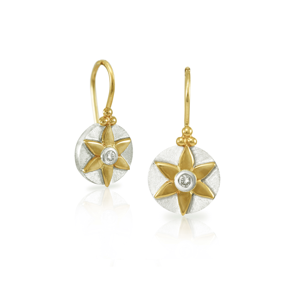 E238 Daisy Diamond Earrings two up front and 3 quarter