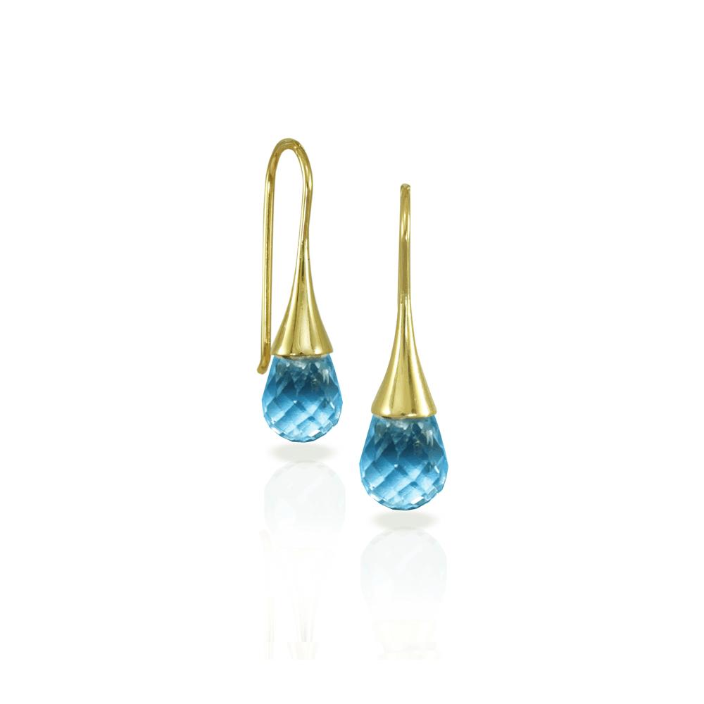 Swiss Blue Topaz drop earrings by Scarab Jewellery Studio