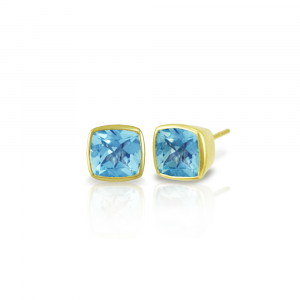 Gold Swiss Blue Topaz Stud Earrings by Scarab Jewellery Studio