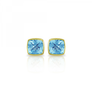 Swiss Blue Topaz Stud Earrings in Gold by Scarab Jewellery Studio