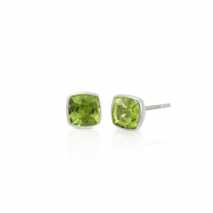 Peridot Stud Earrings set in Silver by Scarab Jewellery Studio