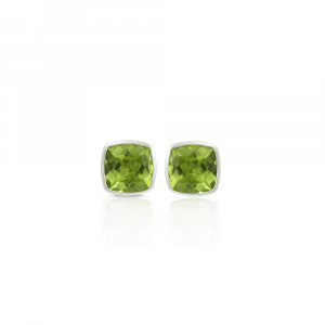 Peridot Stud Earrings set in solid Silver by Scarab Jewellery Studio