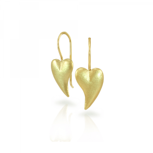 Bewitched gold heart earrings by Scarab Jewellery Studio