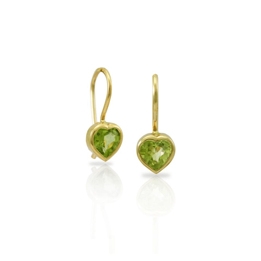 Peridot Heart Earrings set in Gold by Scarab Jewellery Studio