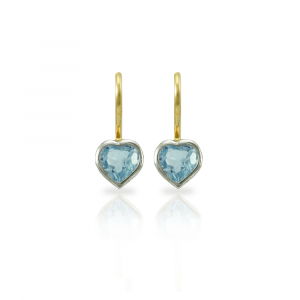 Swiss Blue Topaz heart earrings in silver and gold by Scarab Jewellery Studio