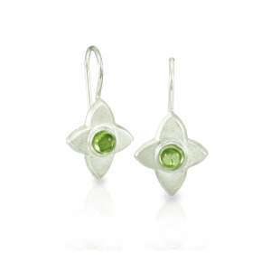 E40 Peridot Silver Flower Petal Earrings
