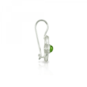 E40 Peridot Silver Petal Flower Earrings