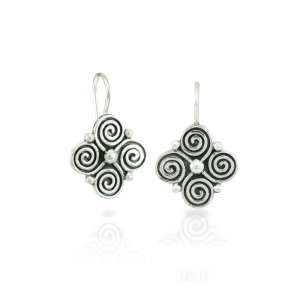 spiral clover silver earrings with blackened detail