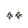 Silver spiral clover earrings with blackened detail - Scarab Jewellery Studios