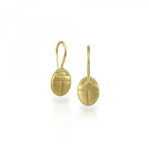 Tiny Scarab Earrings in solid yellow gold by Scarab Jewellery Studio