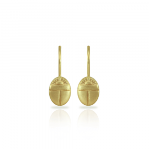 Tiny Scarab drop Earrings in solid yellow gold by Scarab Jewellery Studio