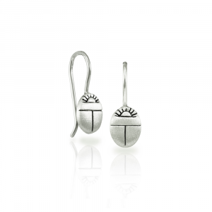 Small solid silver Scarab Beetle Earrings by Scarab jewellery Studio