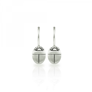 Tiny Scarab Beetle Earrings in solid silver by Scarab jewellery Studio