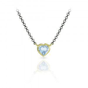 Sky Blue Topaz Heart Necklace set in Rose Gold with Blackened Silver Chain by Scarab Jewellery Studio
