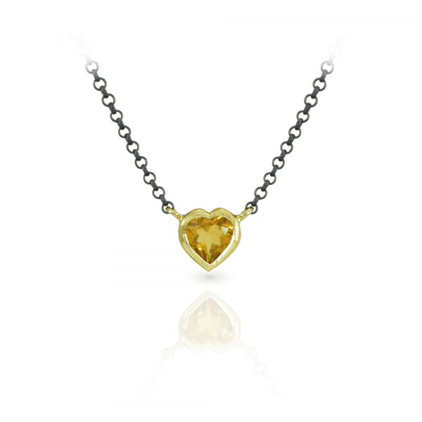 Citrine Heart Pendant in Yellow Gold and blackened silver chain by Scarab Jewellery Studio