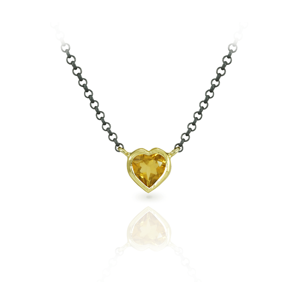 Citrine heart pendant in yellow gold scarab jewellery citrine heart pendant in yellow gold and blackened silver chain by scarab jewellery studio mozeypictures Image collections
