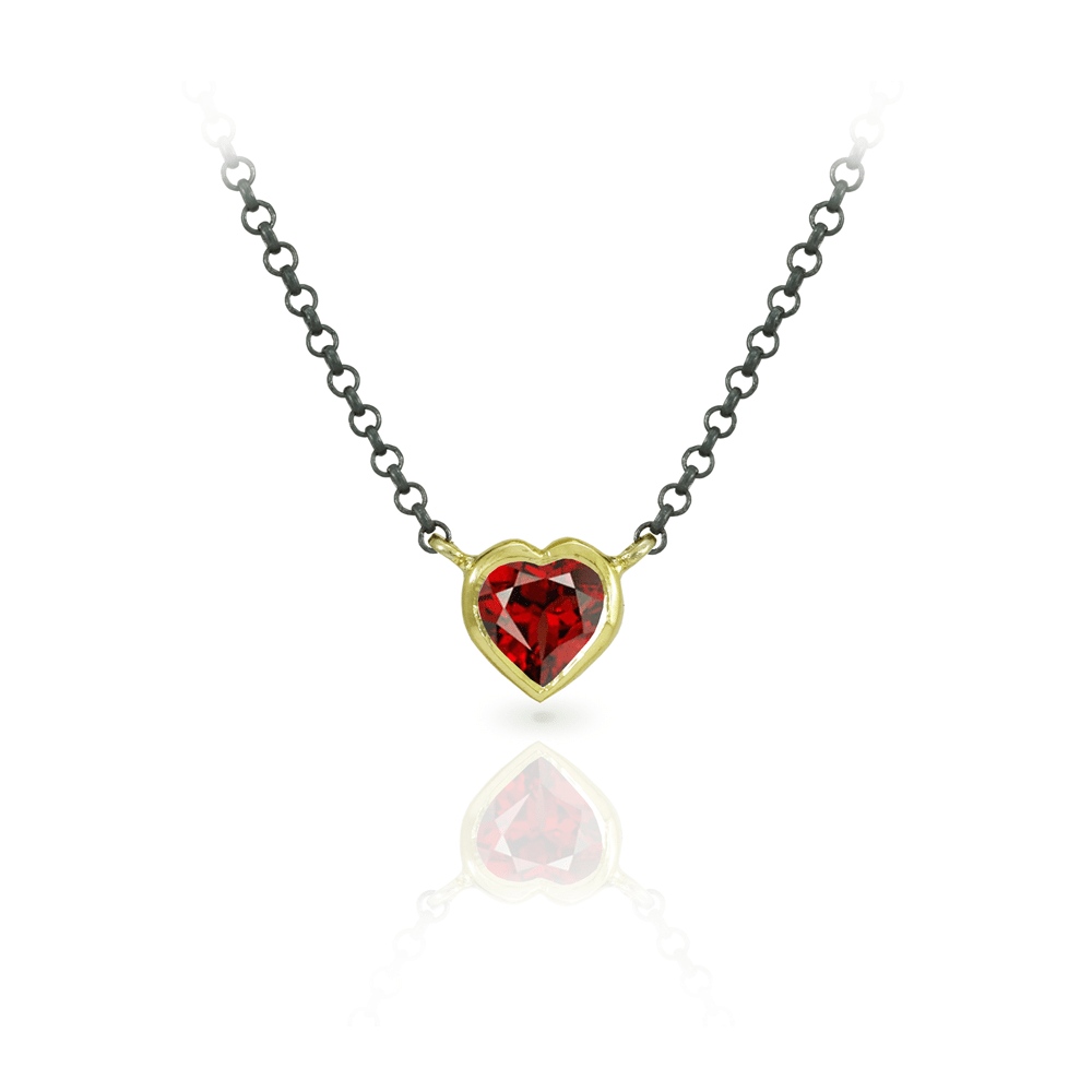 Red Garnet Heart Pendant set in Yellow Gold with blackened silver chain by Scarab Jewellery Studio