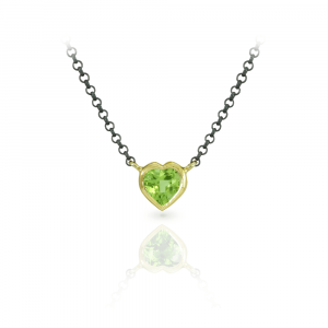 Peridot Heart Pendant set in Yellow Gold with Blackened Silver Chain by Scarab Jewellery Studio