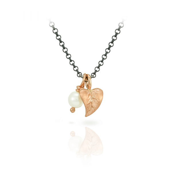 Red Gold Leaf and Pearl Pendant Necklace by Scarab Jewellery Studio