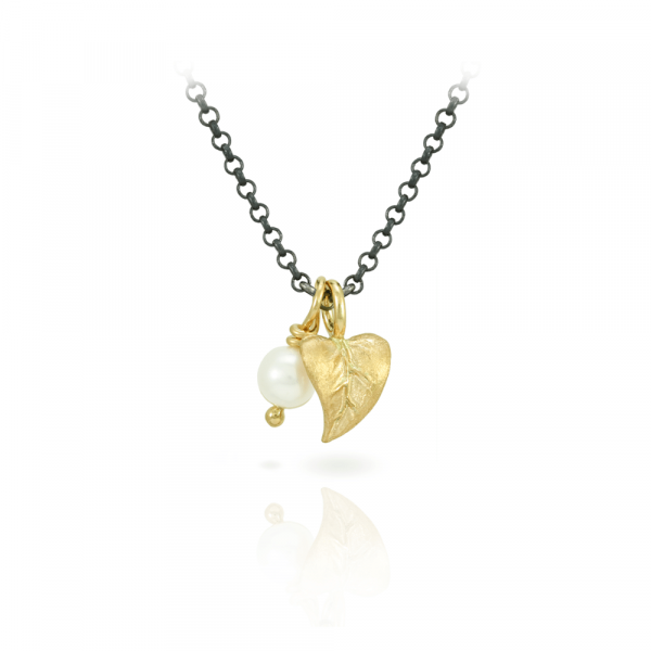 Pearl and Leaf Pendant Necklace in Yellow Gold and Blackened Silver Chain by Scarab Jewellery Studio