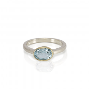 Nefertiti Blue Aquamarine Engagement Ring by Scarab Jewellery Studio