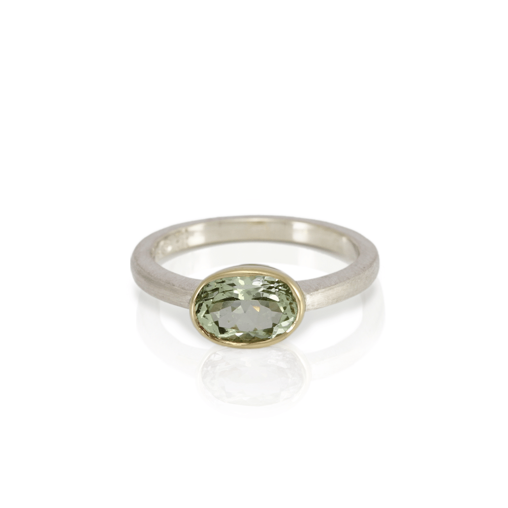 Neferiti aquamarine gold ring in yellow gold and white gold by Scarab Jewellery Studio
