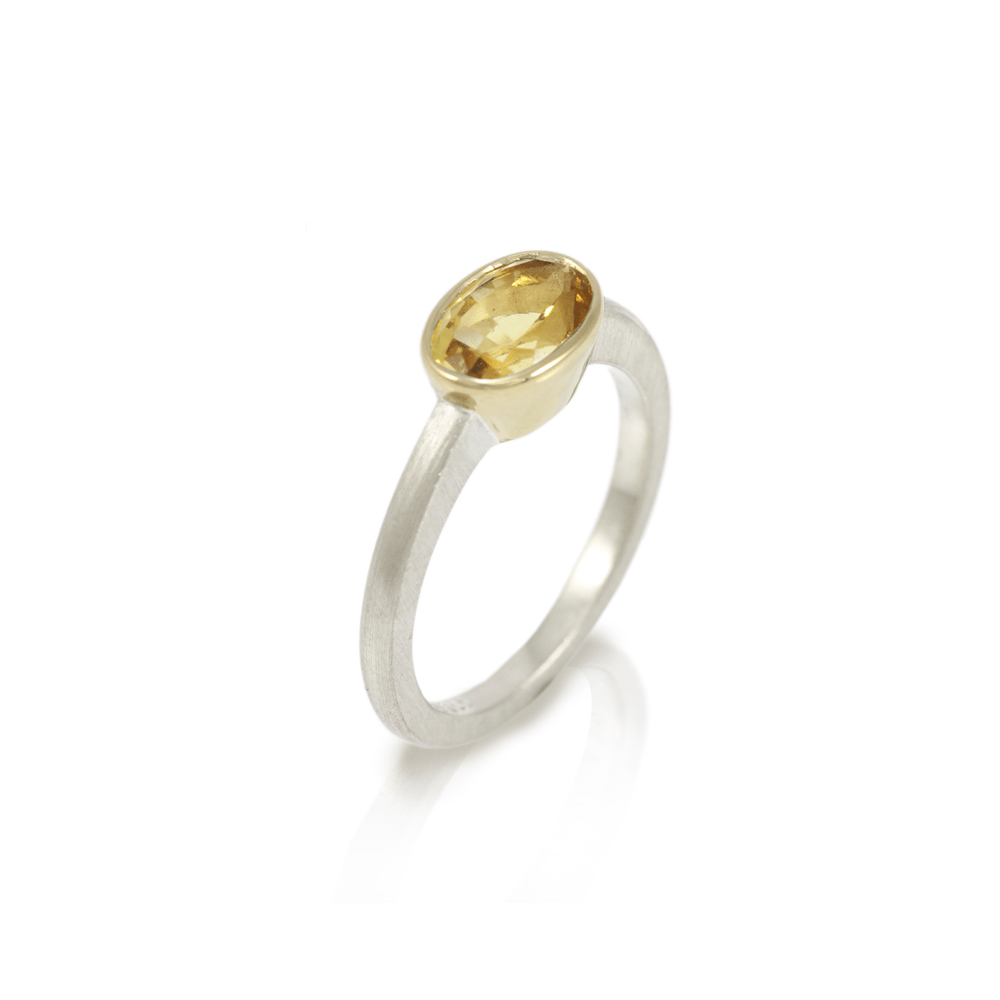 Nefertiti Heliodor Gemstone Engagement Ring by Scarab Jewellery Studio