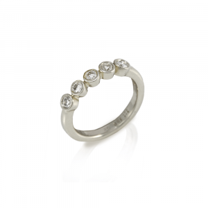 Embla five stone Diamond ring in white gold by Scarab Jewellery Studio