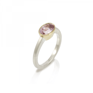 Morganite Engagement Ring Nefertiti Model RG77 in white gold and yellow gold and single morganite solitaire