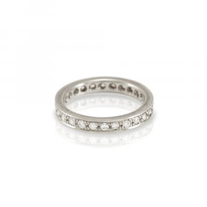 Eterna full diamond eternity ring in white gold by Scarab Jewellery Studio