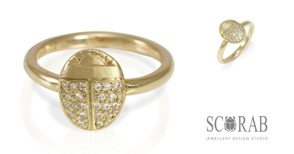 scarab ring with pave diamonds