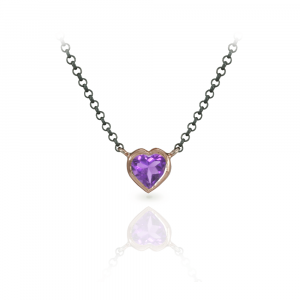 Amethyst Heart Necklace set in Rose Gold with Blackened Silver Chain by Scarab Jewellery Studio