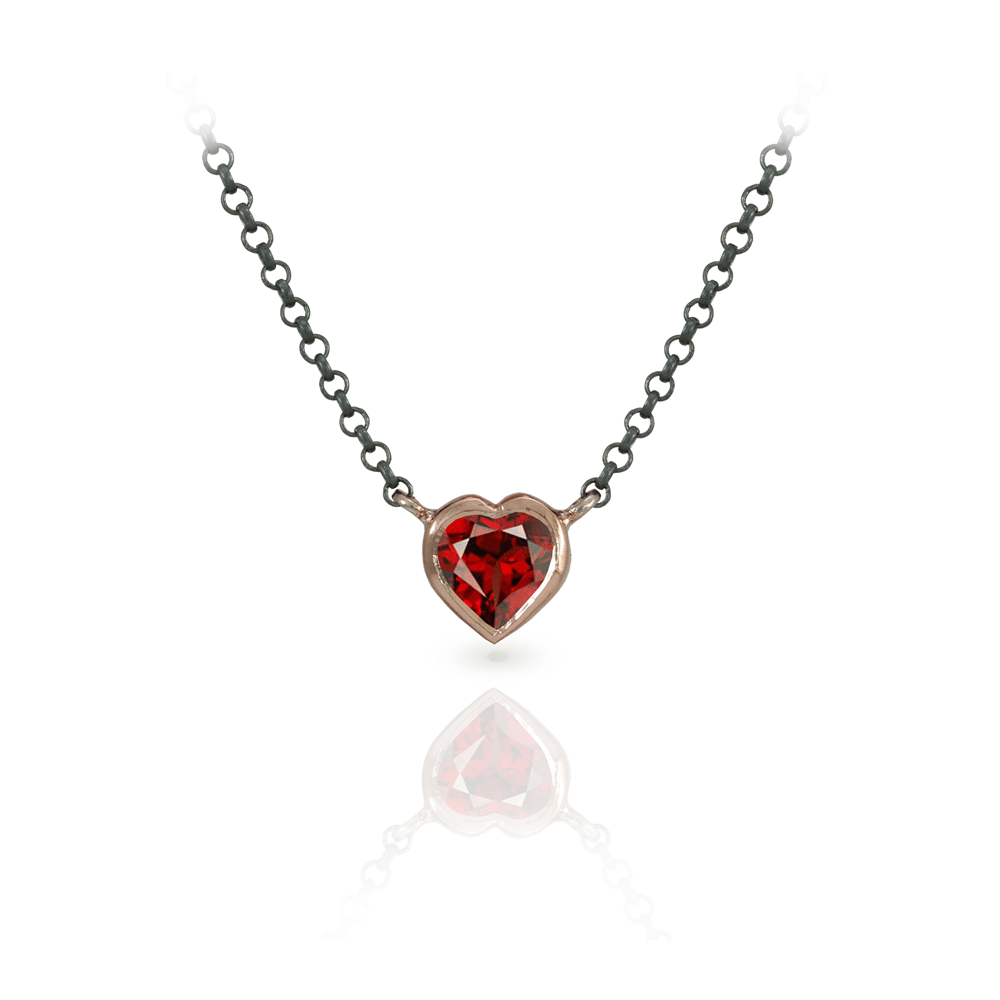 Garnet Heart Necklace set in Rose Gold with Blackened Silver Chain by Scarab Jewellery Studio