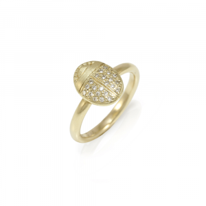 Scarab Ring with Diamonds in Yellow Gold and pave diamond wings by Scarab Jewellery Studio