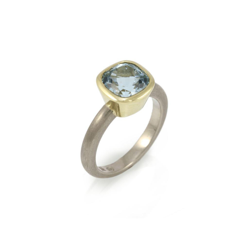Aquamarine Stone Ring - Natural 8mm cushion cut aquamarine set in yellow gold and white gold by Scarab Jewellery Studio