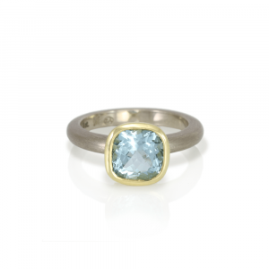 Natural Aquamarine Stone Ring - Natural 8mm cushion cut aquamarine set in yellow gold and white gold - Handmade by Scarab Jewellery Studio