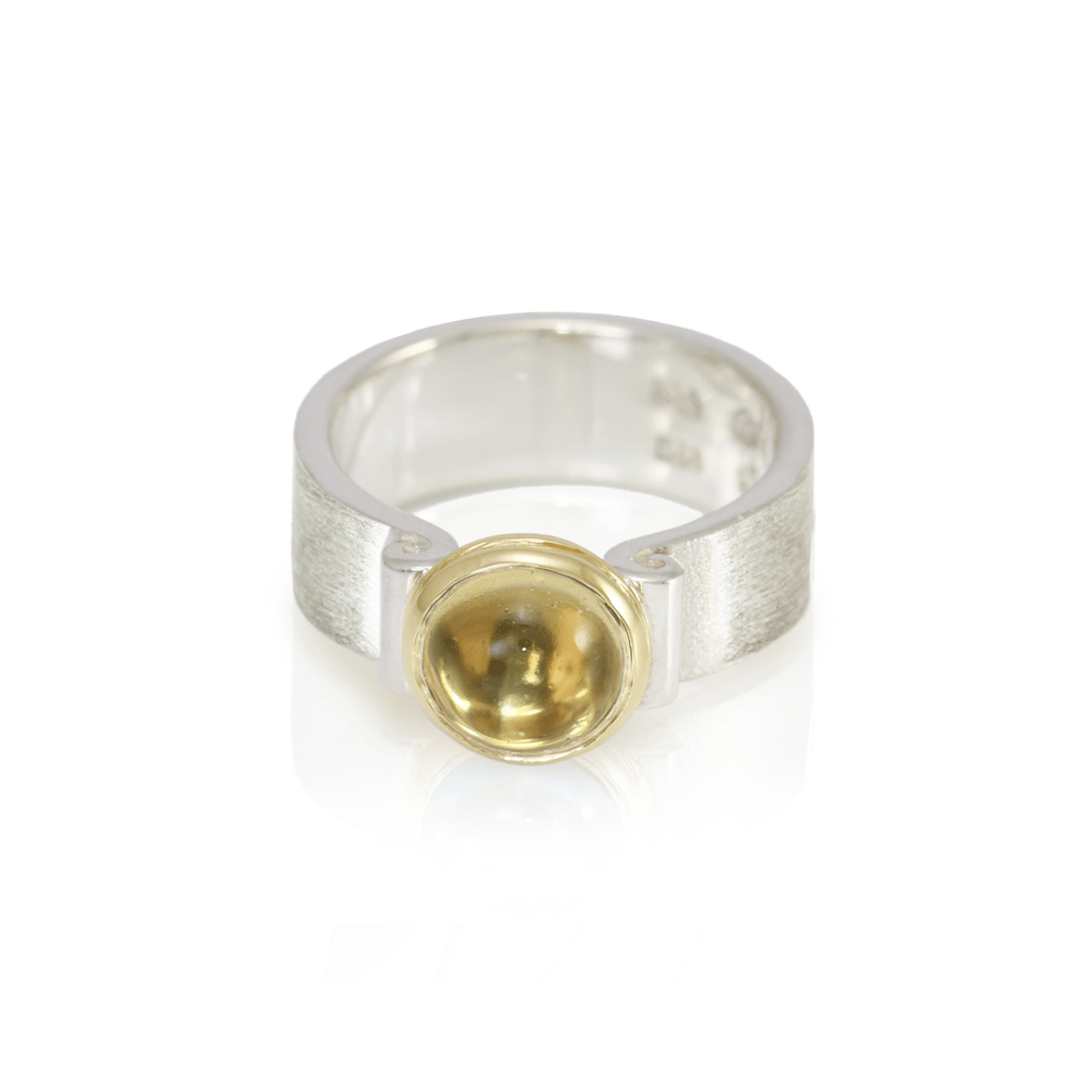 RG32 Citrine Greek Scroll Ring in silver with yellow gold setting by Scarab Jewellery Studio