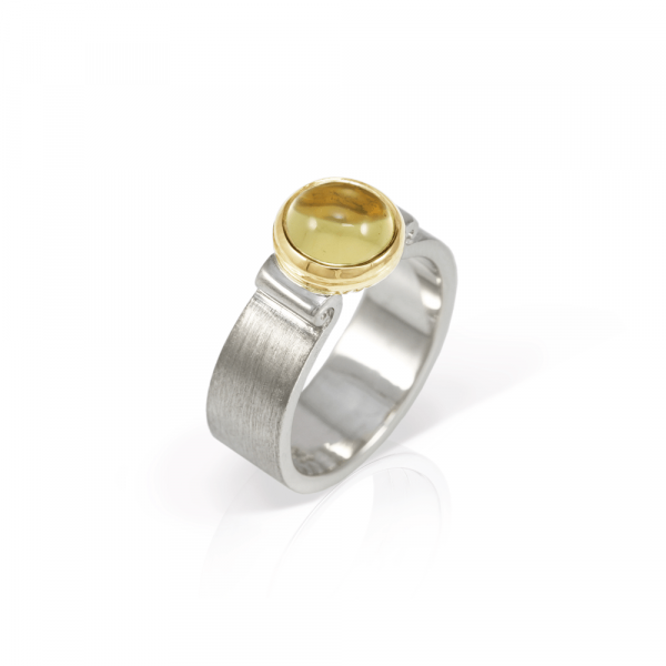 Citrine Greek Scroll Ring in silver with yellow gold setting by Scarab Jewellery Studio