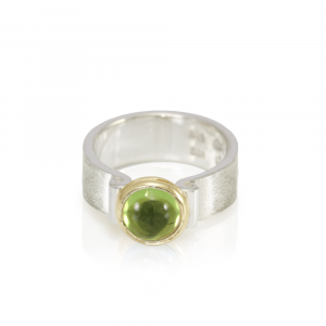 RG32 Peridot Greek Scroll Ring in Silver and yellow gold by Scarab Jewellery Studio