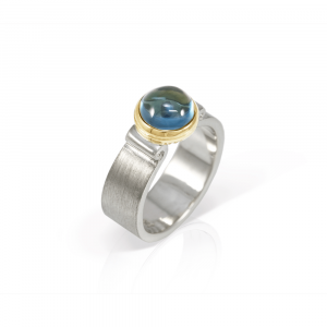 London Blue Topaz Greek Scroll Ring in silver with yellow gold setting by Scarab Jewellery Studio