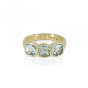 RG64 Three Stone Aquamarine ring in yellow gold by Scarab Jewellery Studio
