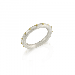 """Ballie"" silver and gold ball ring by Scarab Jewellery Studio"