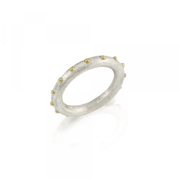 """""""Ballie"""" silver and gold ball ring by Scarab Jewellery Studio"""