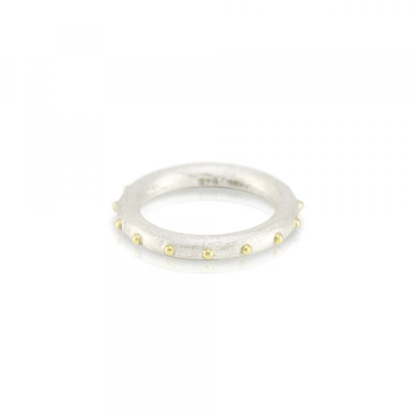 """""""Ballie"""" silver and gold ball ring designed by Scarab Jewellery Studio"""